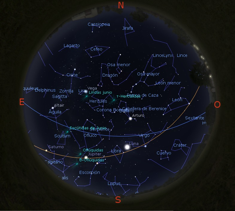 El cielo desde Los Villares, a medianoche del 14 de junio 2019